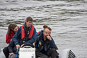 London,  England, Great Britain, 7th April 2019, Right, Hand on Chin, OUWBC Chief Coach, Andy NELDER,  Oxford and Cambridge Universities Women's Varsity, Boat Race, Championship Course, Putney to Mortlake, River Thames,<br /> [Mandatory Credit: Karon PHILLIPS], Sunday  07/04/2019