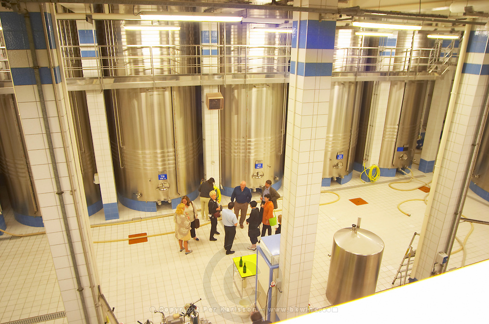 In the winery: The main blending room with many very big blending and fermentation vats and a group of visitors, the Union Champagne cooperative, also called Champagne de Saint Gall in Avize, Cote des Blancs, Champagne, Marne, Ardennes, France