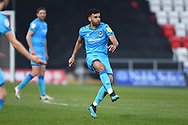 Cheltenham Town Defender Sean Long(2) shoots at goal and misses the target during the EFL Sky Bet League 2 match between Stevenage and Cheltenham Town at the Lamex Stadium, Stevenage, England on 20 April 2021.