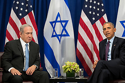 """(L to R) Prime Minister of Israel Benjamin Netanyahu speaks to U.S. President Barack Obama during a bilateral meeting at the Lotte New York Palace Hotel, September 21, 2016 in New York City. Last week, Israel and the United States agreed to a $38 billion, 10-year aid package for Israel. Obama is expected to discuss the need for a """"two-state solution"""" for the Israeli-Palestinian conflict. Photo by Drew Angerer/Pool/ABACAPRESS.COM"""