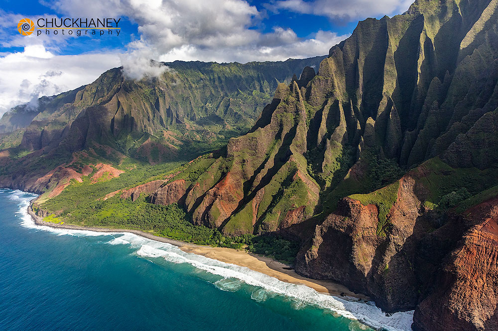 Aerial view of the Napali Coastline in Kauai, Hawaii, USA