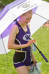 Bethanie Brown, Waterville, senior, stays cool between events; Maine State Track & Field Meet - Class B