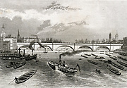 'London Bridge across the Thames, connecting the City and Southwark on the south bank.  Thames lighters and paddle steamers on the river. Engineer: John Rennie (1761-1794) Scottish civil engineer.'