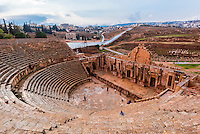 South Theatre, built in 90 - 92 AD, with 32 rows of seats for 5,000 spectators, ancient Roman city of Jerash, Jordan.