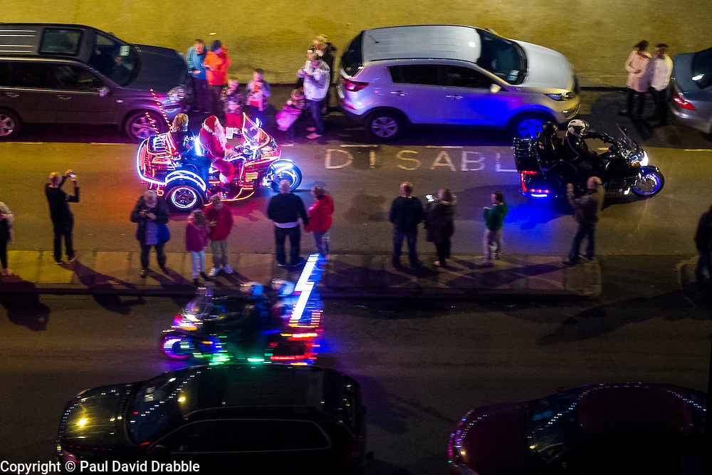 Santa in the Scarborough Goldwing Light Parade 2015 from the terrace of the Grand Hotel<br />  11 September 2015<br />  Image © Paul David Drabble <br />  www.pauldaviddrabble.co.uk