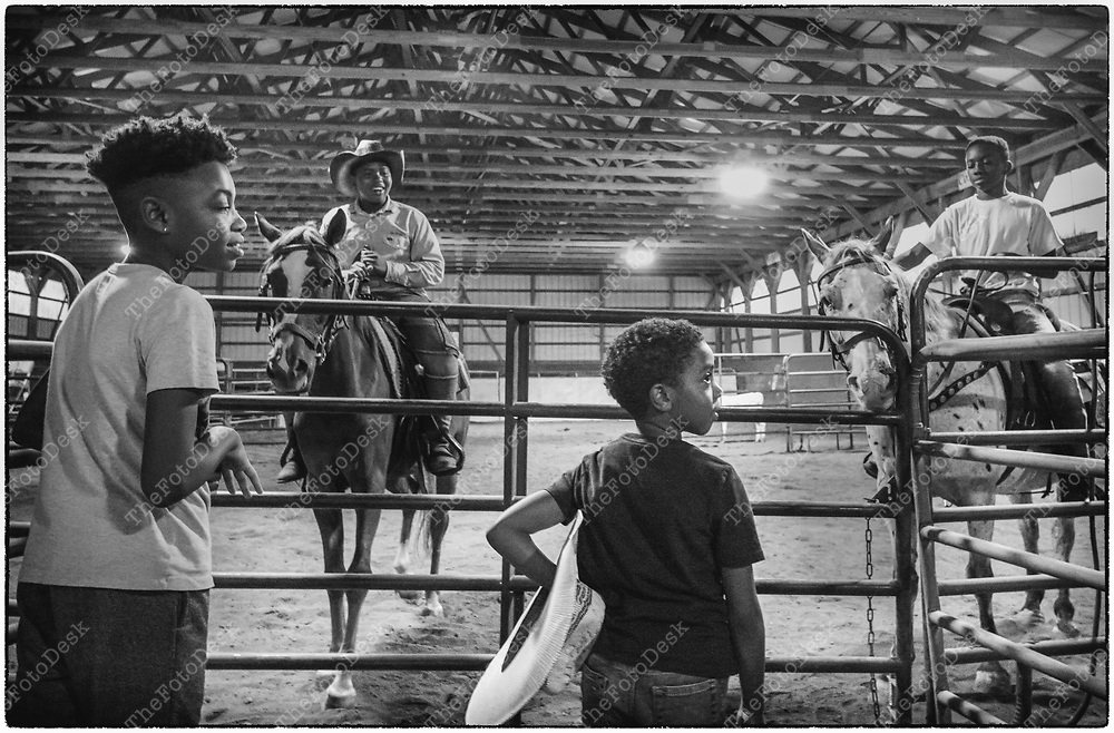 FLEMINGTON, NEW JERSY: Young cowboys at the cowboy celebration in Flemington, NJ on Saturday, August 28, 2021.  The celebration featured team sorting, horseback riding and a cookout.    (Brian Branch-Price/TheFotoDesk)