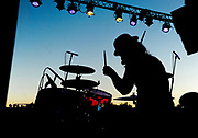 Drummer Paul Cooper, of the band Kashmir, performs at NARA Park in Acton, MA.