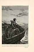 The young woman, sitting in the stern, was lost in contemplation. from the book ' Around the world in eighty days ' by Jules Verne (1828-1905) Translated by Geo. M. Towle, Published in Boston by James. R. Osgood & Co. 1873 First US Edition