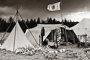 Trader campsite at a West Yellowstone, Montana Mountain Man Rendezvous.