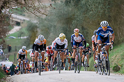 Leaders take on the demanding gravel climbs as the race enters it's final third  - 2016 Strade Bianche - Elite Women, a 121km road race from Siena to Piazza del Campo on March 5, 2016 in Tuscany, Italy.