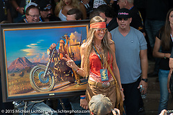 Betsy Huelskamp before the start of the Legends Ride from Deadwood during the 75th Annual Sturgis Black Hills Motorcycle Rally.  SD, USA.  August 3, 2015.  Photography ©2015 Michael Lichter.