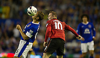 Manchester United's Wayne Rooney and Everton's Phil Jagielka ..Football - Barclays Premiership - Everton v Manchester United - Monday August 20th 2012 - Goodison Park - Liverpool..