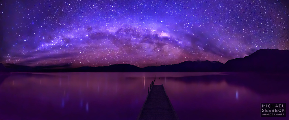 The Milky Way setting over a lake in Fiordland, New Zealand's South Island, with a long jetty in the foreground.<br /> <br /> Code: CZSH0002<br /> <br /> Limited Edition print