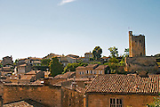 A view over the medieval village of Saint Emilion, rooftops roof tops and the famous tower Chateau du Roi