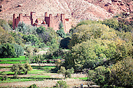 Kasbah with cultivated fields in the Ounila Valley, Morocco.