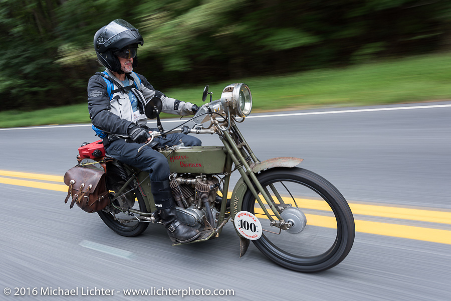 The Doobie Brothers' Pat Simmons of Hawaii rides his 1914 Harley-Davidson during the Pat Simmons, a founding member of the Doobie Brothers, on his 1914 Harley-Davidson for the Motorcycle Cannonball Race of the Century. Stage-1 from Atlantic City, NJ to York, PA. USA. Saturday September 10, 2016. Photography ©2016 Michael Lichter.