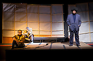 """Middletown, New York - Students from The Apprentice Players of the SUNY Orange Arts & Communications Department in a dress rehearsal of """"after the quake"""" at Orange Hall Theatre on Nov. 13, 2014."""