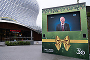 Chief Medical Officer for England, Professor Chris Whitty gives health advice from a screen near the Selfridges building as the third national coronavirus lockdown continues, some people are still out and about but the streets remain eerily empty on 18th January 2021 in Birmingham, United Kingdom. Christopher Whitty is a British physician and epidemiologist who serves as the Chief Medical Officer for England, Chief Medical Adviser to the UK Government, Chief Scientific Adviser to the Department of Health and Social Care, and Head of the National Institute for Health Research. Since March 2020, Whitty has played a key role in the response to the COVID-19 pandemic in the United Kingdom.