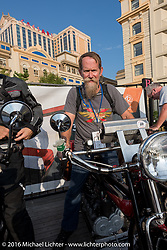 Steve Macdonald of New York on his 4-cylinder 1912 Henderson on the Atlantic City boardwalk at the start of the Motorcycle Cannonball Race of the Century. Stage-1 from Atlantic City, NJ to York, PA. USA. Saturday September 10, 2016. Photography ©2016 Michael Lichter.