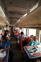 Malaysian Railways Dining Car - Malaysian Railways, formerly known as the Malayan Railway Administration is officially known as KTMB after it became a government supported corporation in 1992.  The railway system dates back to the British colonial era, when it was first built to transport tin amd rubber.