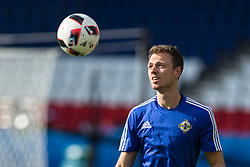 PARIS, FRANCE - Friday, June 24, 2016: Northern Ireland's Jonny Evans during a training session at the Parc des Princes ahead of the Round of 16 UEFA Euro 2016 Championship match against Wales. (Pic by Paul Greenwood/Propaganda)