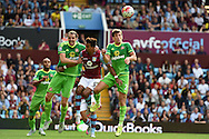 Scott Sinclair of Aston Villa © is squeezed out by John O'Shea (l) and Billy Jones ® of Sunderland. Barclays Premier League match, Aston Villa v Sunderland at Villa Park in Birmingham, Midlands on Saturday 29th August  2015.<br /> pic by Andrew Orchard, Andrew Orchard sports photography.