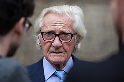 """London, UK. 25 September, 2019. Lord Heseltine is interviewed on College Green on the day after the Supreme Court ruled that the Prime Minister's decision to suspend parliament was """"unlawful, void and of no effect"""". Credit: Mark Kerrison/Alamy Live News"""
