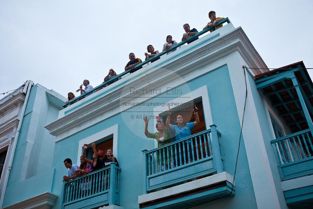 Crowds of revelers during the Festival of San Sebastian in San Juan, Puerto Rico.