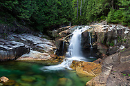 Lower Falls and the emerald pools of Gold Creek at Golden Ears Provincial Park in Maple Ridge, British Columbia, Canada.