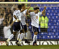 Photo: Olly Greenwood.<br />Tottenham Hotspur v Cardiff City. The FA Cup. 17/01/2007. Tottenham's Steed Malbranque celebrates scoring with his team mates