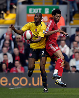 Photo: Jed Wee/Sportsbeat Images.<br /> Liverpool v Arsenal. The Barclays Premiership. 31/03/2007.<br /> <br /> Arsenal's Abou Diaby (L) beats Liverpool's Jermaine Pennant to the ball.