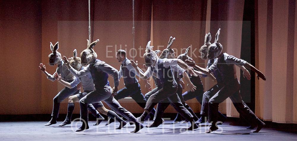 Balletboyz<br /> Life<br /> at Sadler's Wells, London, Great Britain <br /> Rabbit by  Pontus Lidberg <br /> rehearsal <br /> 20th April 2016 <br /> <br /> Andrea Carruciu<br /> Bradley Waller<br /> Edward Pearce<br /> Flatten Esmieu<br /> Harry Price<br /> Jordan Robson<br /> Matthew Rees <br /> Matthew Sanford<br /> Simone Donati <br /> Mark Galvez<br /> <br /> <br /> Photograph by Elliott Franks <br /> Image licensed to Elliott Franks Photography Services