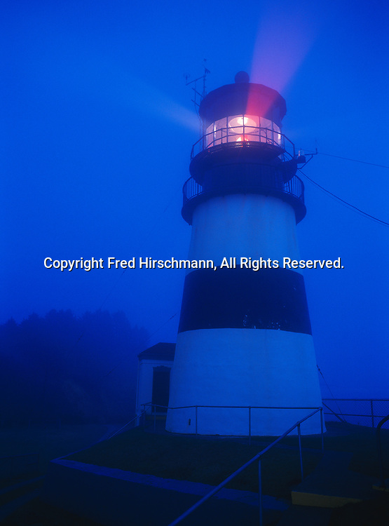 Cape Disappointment Lighthouse in fog, mouth of the Columbia River, Washington