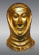 Medieval Gothic gold leaf funerary mask, end of 13th century made in Limoges. AD. From the Priory of Papillaye, Maine et Loire, the death mask came from the tomb of Herbert Lasnier who died in 1290. inv 6485, The Louvre Museum, Paris. .<br /> <br /> If you prefer you can also buy from our ALAMY PHOTO LIBRARY  Collection visit : https://www.alamy.com/portfolio/paul-williams-funkystock/gothic-art-antiquities.html  Type -   louvre     - into the LOWER SEARCH WITHIN GALLERY box. Refine search by adding background colour, place, museum etc<br /> <br /> Visit our MEDIEVAL ART PHOTO COLLECTIONS for more   photos  to download or buy as prints https://funkystock.photoshelter.com/gallery-collection/Medieval-Gothic-Art-Antiquities-Historic-Sites-Pictures-Images-of/C0000gZ8POl_DCqE