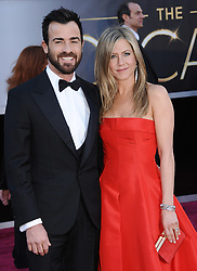 """File photo - Justin Theroux and Jennifer Aniston arriving for the 85th Academy Awards at the Dolby Theatre on February 24, 2013 in Los Angeles, Ca, USA. Hollywood couple Jennifer Aniston and Justin Theroux are separating after two years of marriage. The pair, who reportedly met on the set of comedy film Wanderlust, said the mutual decision was """"lovingly made"""" at the end of last year. Photo by Lionel Hahn/ABACAPRESS.COM"""