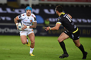 Jack Nowell of Exeter (l) runs at Dan Evans of the Ospreys. European Rugby Champions Cup match, Ospreys v Exeter Chiefs at the Liberty Stadium in Swansea, South Wales on Sunday 15th November 2015. pic by Andrew Orchard, Andrew Orchard sports photography.