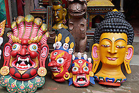 Nepal. Vallee de Katmandou. Katmandou. Rue commercante d'Asan Tole. Artisanat. // Nepal. Kathmandu valley. Kathmandu. Craft on Asan Tole street.