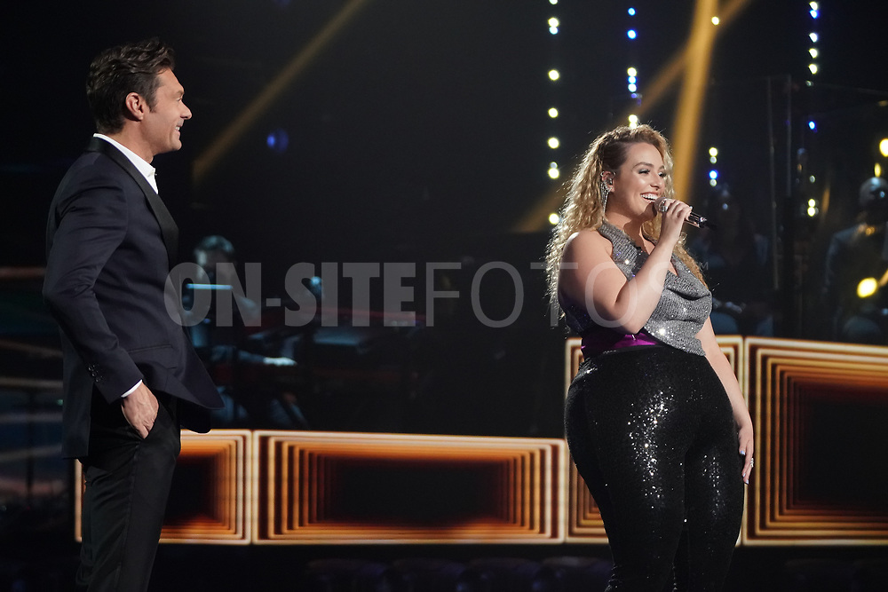 """AMERICAN IDOL – """"414 (Oscar Nominated Songs)"""" – The top 12 contestants perform Oscar®-nominated songs in hopes of securing America's vote into the top nine on an all-new episode of """"American Idol,"""" airing live coast-to-coast on SUNDAY, APRIL 18 (8:00-10:00 p.m. EDT), on ABC. (ABC/Eric McCandless)<br /> RYAN SEACREST, GRACE KINSTLER"""