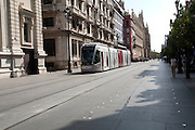 Modern Metro-Centro tram transport system in the historic centre of Seville, Spain