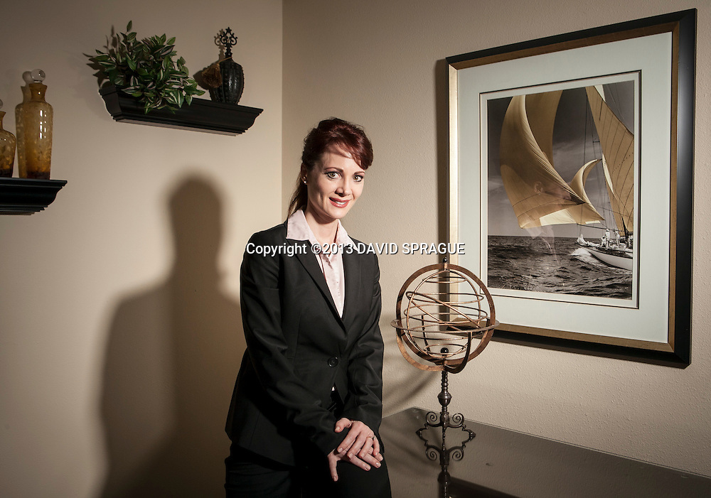 Cher Munoz, owner of Zephyr Investment Management. She became owner in January, making Munoz one of a few women who own money management firms. Shot March 18,  2013 Photo by David Sprague ©2013