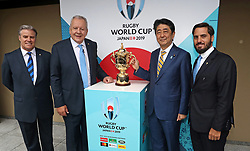 KYOTO, JAPAN - MAY 10: (L-R) Brett Gosper, CEO of World Rugby, Bill Beaumont, Chairman of World Rugby, Shinzo Abe, Prime Minister of Japan and Agustin Pichot, Vice-Chairman of World Rugby pose with The William Webb Ellis Cup during the Rugby World Cup 2019 Pool Draw at the Kyoto State Guest House on May 10, in Kyoto, Japan. Photo by Dave Rogers - World Rugby/PARSPIX/ABACAPRESS.COM