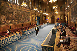 A near empty Royal Gallery as invited guests wait for the arrival Queen Elizabeth II before the State Opening of Parliament in the House of Lords at the Palace of Westminster in London. Picture date: Tuesday May 11, 2021.