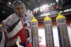 Goalkeeper Andrej Hocevar at morning practice of Slovenian national team before match against Canada at Hockey IIHF WC 2008 in Halifax,  on May 02, 2008 in Metro Center, Halifax, Canada.  (Photo by Vid Ponikvar / Sportal Images)