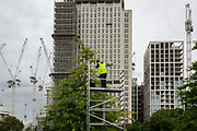 A wokman wearing a hi-vis vest carries out repairs to street lighting in Jubilee Gardens, beneath tall Southbank buildings and construction cranes, on 6th September 2017, in London, England.