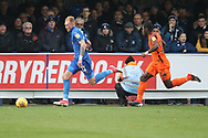 AFC Wimbledon midfielder Mitchell (Mitch) Pinnock (11) running down the wing during the EFL Sky Bet League 1 match between AFC Wimbledon and Southend United at the Cherry Red Records Stadium, Kingston, England on 24 November 2018.