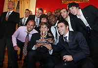 20090528: FUNCHAL, PORTUGAL Ð Nacional Madeira striker Nene receives the Golden Ball, after scoring 20 goals on the Portuguese League 2008/2009. Nene is being followed by SL Benfica, FC Porto, Arsenal, Lyon, AS Roma and Hamburg, among other teams. In picture: Nene and friends for Nacional Team . <br />PHOTO: Octavio Passos/CITYFILES