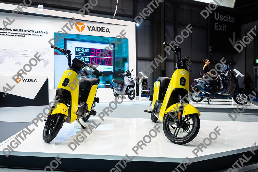 RHO Fieramilano, Milan Italy - November 07, 2019 EICMA Expo. Presentation of the electric scooter model V7 from YadeaDIGITAL CAMERA