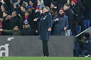 Sam Allardyce, the Crystal Palace manager celebrates after Christian Benteke of Crystal Palace scores his sides 2nd goal. Emirates FA Cup 3rd round replay match, Crystal Palace v Bolton Wanderers at Selhurst Park in London on Tuesday 17th January 2017.<br /> pic by John Patrick Fletcher, Andrew Orchard sports photography.