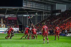 Toulon's Romain Taofifenua claims the lineout<br /> <br /> Photographer Craig Thomas/Replay Images<br /> <br /> European Rugby Champions Cup Round 5 - Scarlets v Toulon - Saturday 20th January 2018 - Parc Y Scarlets - Llanelli<br /> <br /> World Copyright © Replay Images . All rights reserved. info@replayimages.co.uk - http://replayimages.co.uk