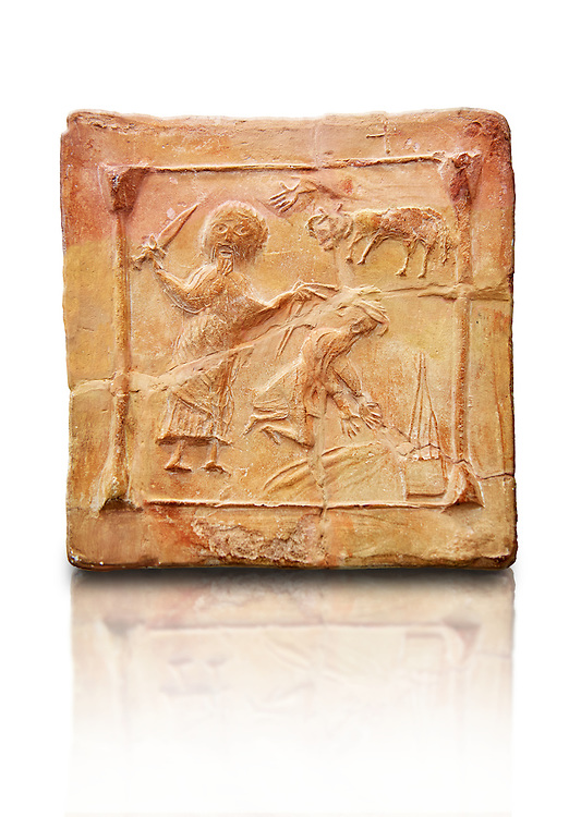6th-7th Century Eastern Roman Byzantine  Christian Terracotta tiles depicting Abraham about to offer his son Isaac as a sacrifice<br />   - Produced in Byzacena -  present day Tunisia. <br /> <br /> These early Christian terracotta tiles were mass produced thanks to moulds. Their quadrangular, square or rectangular shape as well as the standardised sizes in use in the different regions were determined by their architectonic function and were designed to facilitate their assembly according to various combinations to decorate large flat surfaces of walls or ceilings. <br /> <br /> Byzacena stood out for its use of biblical and hagiographic themes and a richer variety of animals, birds and roses. Some deer and lions were obviously inspired from Zeugitana prototypes attesting to the pre-existence of this province's production with respect to that of Byzacena. The rules governing this art are similar to those that applied to late Roman and Christian art with, in the case of Byzacena, an obvious popular connotation. Its distinguishing features are flatness, a predilection for symmetrical compositions, frontal and lateral representations, the absence of tridimensional attitudes and the naivety of some details (large eyes, pointed chins). Mass production enabled this type of decoration to be widely used at little cost and it played a role as ideograms and for teaching catechism through pictures. Painting, now often faded, enhanced motifs in relief or enriched them with additional details to break their repetitive monotony.<br /> <br /> The Bardo National Museum Tunis, Tunisia.  Against a white background.